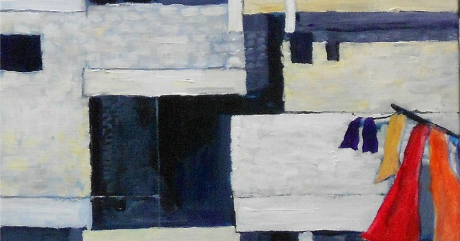 Balconies & red towels 11x14in acrylic ongalwrap canvas.-1Egypt-luxor - 00021