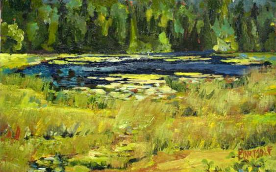 """OrcasIsland Pond 11x14inoiloncanvas PrivCol3 563x351 - """"Orcas Island Pond"""" 11x14in. oil on canvas Private Collection (sold)"""